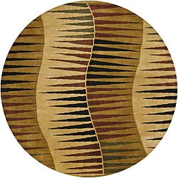 """Hand-Knotted Mandara Gold New Zealand Wool Rug with Geometric Pattern (7'9"""" Round)"""