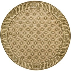 Artist's Loom Hand-knotted Transitional Floral Wool Rug (7'9 Round)
