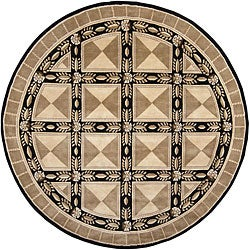 Hand-Knotted Mandara Brown New Zealand Wool Oriental Rug (7'9 Round)