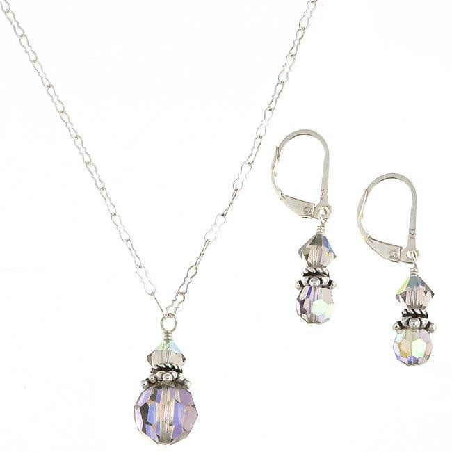 Misha Curtis Sterling Silver Crystal Necklace and Earrings Set