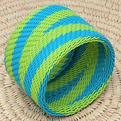 Telephone Wire Lime and Blue Bangle Bracelet (South Africa)