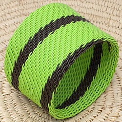 Telephone Wire Lime and Brown Bangle Bracelet (South Africa)
