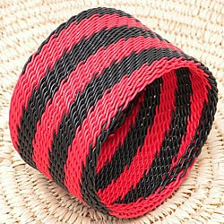 Telephone Wire Red and Black Bangle Bracelet (South Africa)