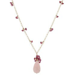 Misha Curtis Quartz and Tourmaline 14k Goldfill Pendant Necklac