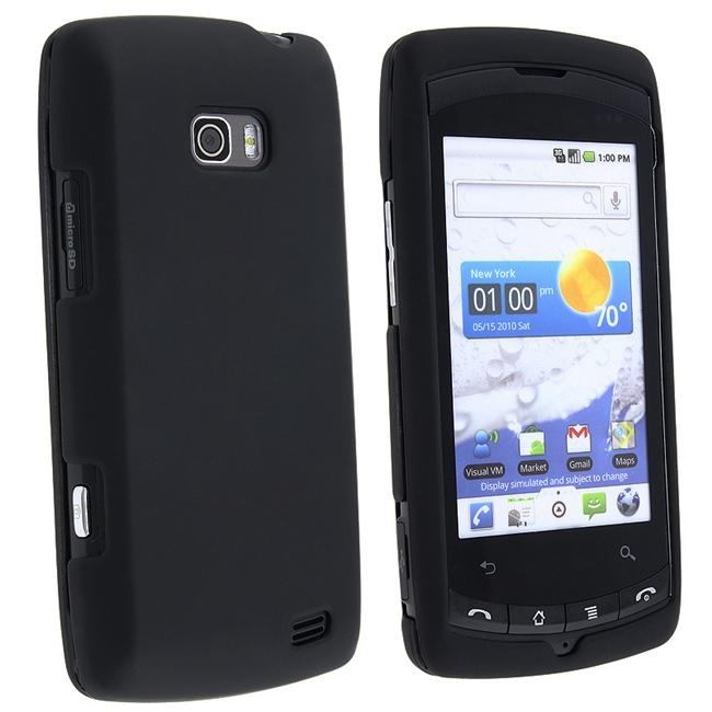 Black Snap-on Rubber Coated Case for LG Ally VS740