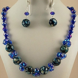 Cobalt Blue Mosaic Marble and Crystal Cluster Jewelry Set