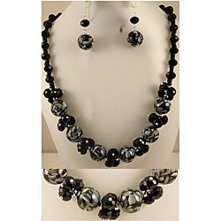 Jet Black Mosaic Marble and Crystal Cluster Jewelry Set