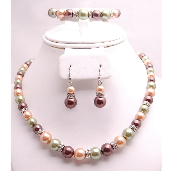 Glass and Crystal Green/Tangerine/Purple Jewelry Set