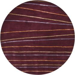Hand-tufted Mandara New Zealand Brown Wool Rug (7'9 Round)