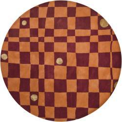 Hand-tufted Mandara New Zealand Orange Geometric Wool Rug (7'9 Round)