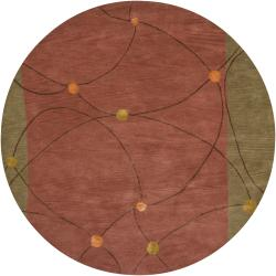 Hand-tufted Mandara New Zealand Red Wool Rug (7'9 Round)