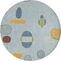 Hand-tufted Mandara New Zealand Blue Wool Rug (7'9 Round)