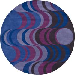 Hand-tufted Mandara Blue/ Purple New Zealand Wool Rug (7'9 Round)