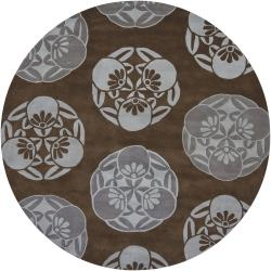Contemporary Hand-Tufted Mandara Brown Geometric New Zealand Wool Rug (7'9