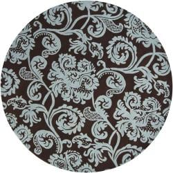 Transitional Hand-Tufted Mandara Brown Floral New Zealand Wool Rug (7'9