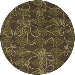Mandara Brown/ Green Hand-tufted Floral New Zealand Wool Area Rug (7'9 Round)