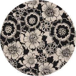 Hand-tufted Mandara Black Floral New Zealand Wool Rug (7'9 Round)
