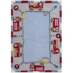 nuLOOM Hand-carved Kids Fire Trucks and Lights Blue Wool Rug (5' x 8')
