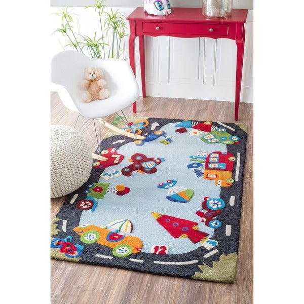 nuLOOM Hand-carved Kids Manhattan City Roadway Blue Wool Rug (5' x 8')