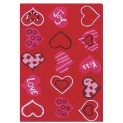 nuLOOM Hand-carved Kids Valentine Heart Love Red Wool Rug (5' x 8')