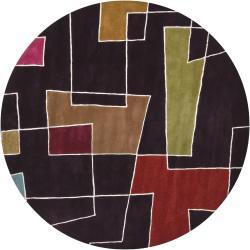Hand-tufted Mandara Brown Geometric New Zealand Wool (7'9 Round)