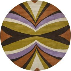Hand-tufted Mandara Multi New Zealand Wool Geometric Rug (7'9 Round)