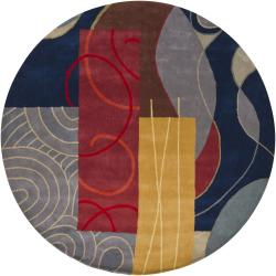 "Hand-Tufted Mandara Multi New Zealand Wool Rug with Shades of Blue and Gold (7'9"" Round)"