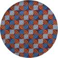 "Hand-Tufted Mandara Multi New Zealand Wool Rug with Shades of Red and Blue (7'9"" Round)"