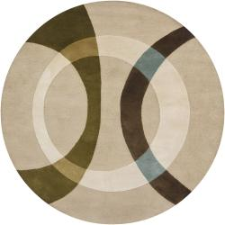Hand-Tufted Circular Abstract Mandara Wool Rug (7'9 Round)