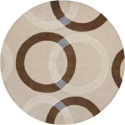 Hand-Tufted Mandara Beige Wool Area Rug (7'9