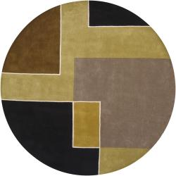 Hand-Tufted Multicolor Abstract Mandara Wool Rug (7'9 Round)