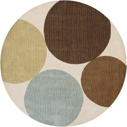 Hand-Tufted Contemporary Mandara Wool Rug (7'9 Round)