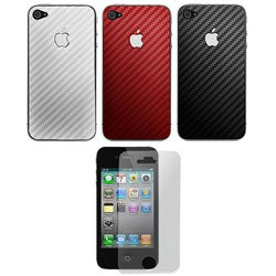Carbon Fiber Apple iPhone 4 Vinyl Decal with Screen Protector