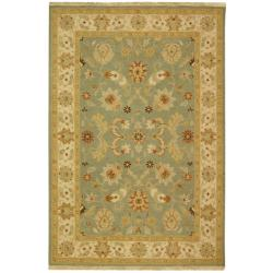 Indo Hand-woven Sumak Light Blue/ Beige Rug (10' x 14')