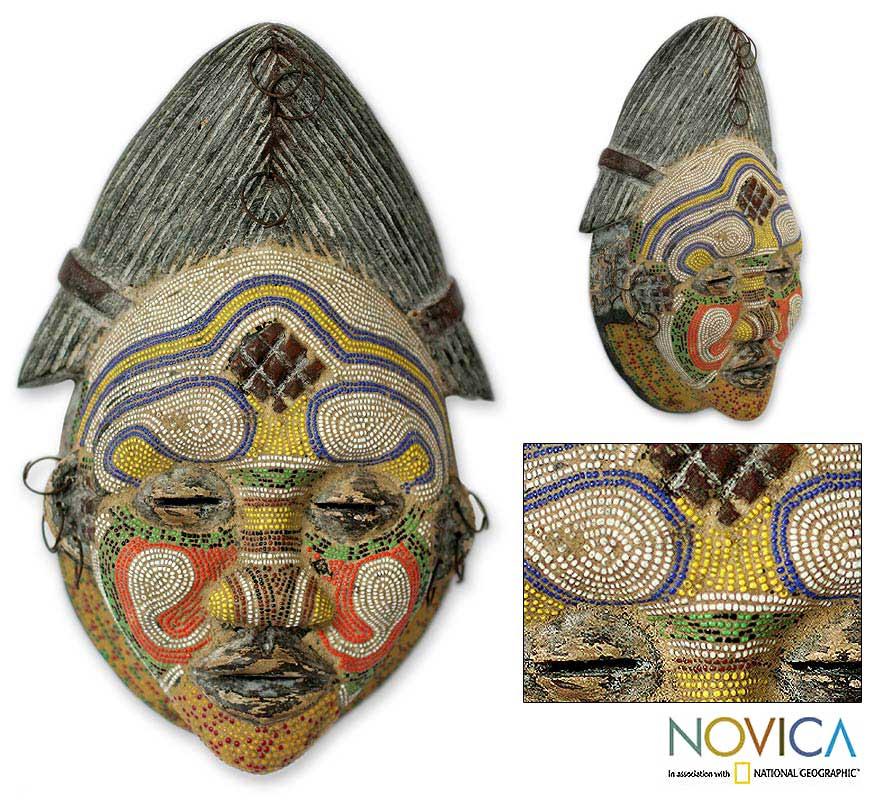 Sese Wood 'Kindly River Goddess' Congolese Mask (Ghana)