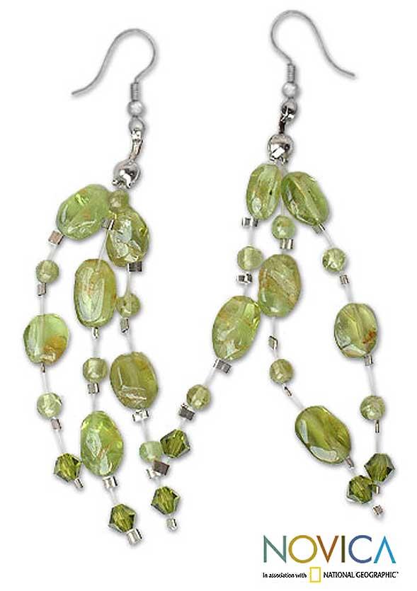 Peridot 'Lime Drops' Waterfall Earrings (Thailand)
