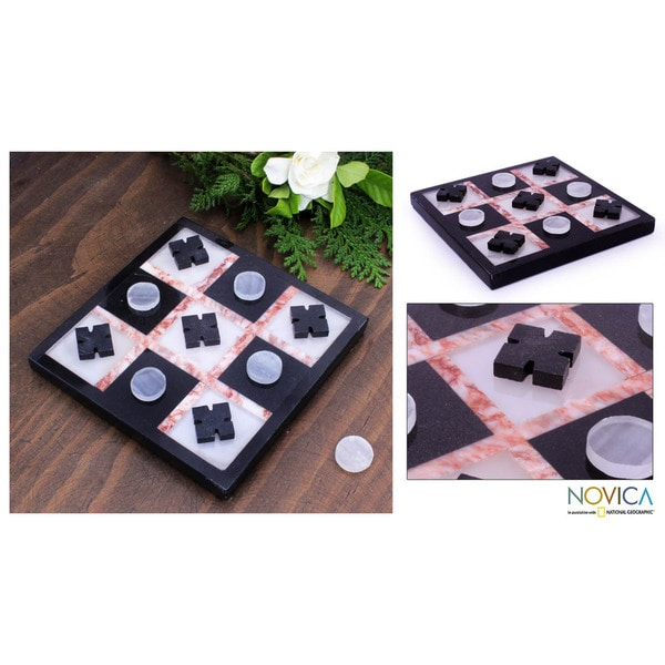 Marble 'Rose on Black' Tic-Tac-Toe Set (Mexico)