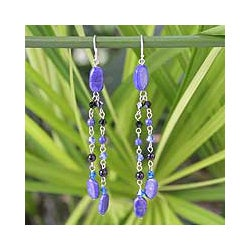 Silver 'Blue Rain Shower' Lapis Lazuli Earrings (Thailand)