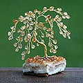 Brass 'Citrine Blossoms' Medium Gemstone Tree (Brazil)