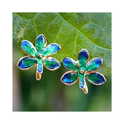 24k Goldplated Brass 'Aqua Perfection' Orchid Earrings (Thailand)