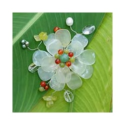 Gemstone and Pearl 'Lime Blossom' Brooch (6 mm) (Thailand)