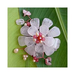 Gemstone and Pearl 'Apple Blossom' Brooch (4-6 mm) (Thailand)