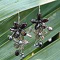Pearl/ Garnet/ Smokey Quartz 'Blossoming' Earrings (4-6 mm) (Thailand)