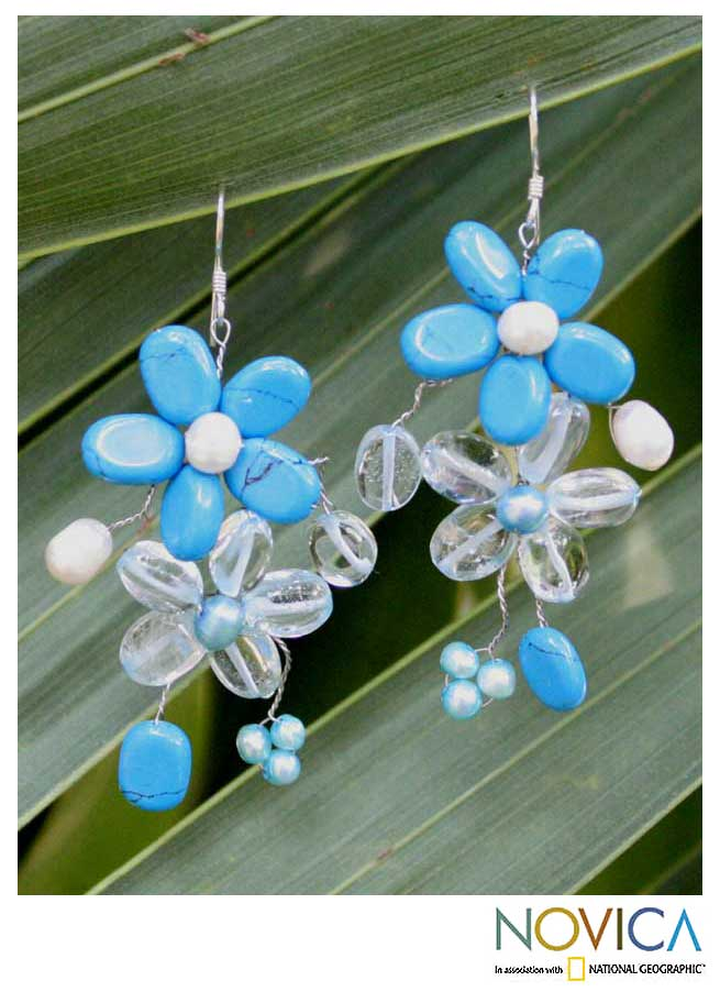 Pearl and Quartz 'Blossoming Blue' Flower Earrings (3-6 mm) (Thailand)