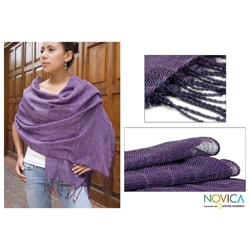 Hand-woven Cotton 'Purple Paths' Shawl (Guatemala)