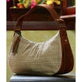 Leather and Cotton 'Cinnamon Oats' Baguette Handbag (Guatemala)