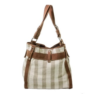 Just My Size Eco Friendly Handwoven Natural 100% Eco Cotton and Brown Leather Adjustable Strap Womens Shoulder Bag (Guatemala)
