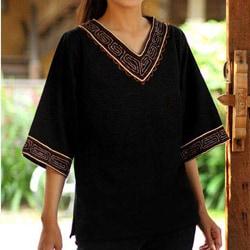 Cotton 'Casual Ebony' Tunic (Thailand)