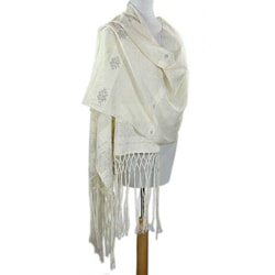Cotton 'Wheat Harvest' Shawl (Guatemala)