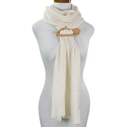 Cotton 'Ivory Paths' Cedar Pin Scarf (Guatemala)